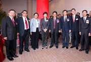 Club Steward Dr Rita Fan Hsu Lai Tai (3rd from left), the Club!|s Executive Director, Charities, Douglas So (2nd from right), Deputy Director of the Central Government's Liaison Office Zhou Junming (4th from right), Secretary for Development Carrie Lam (4th from left), Chen Zhuo from the Central Government's Liaison Office (1st from right), The Yuen Yuen Institute Vice Chairman Chan Kwok-chiu (3rd from right) and the Kuk!|s Executive Councillors.