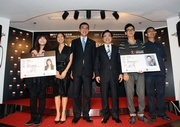 The Hong Kong Jockey Club's Executive Director, Charities, Douglas So (3rd from left), Hong Kong International Film Festival Society Chairman Wilfred Wong (3rd from right), Executive Director Shaw Soo Wei (2nd from left), Artistic Director Li Cheuk To (1st from right), Jockey Club Cine Academy Ambassador and Hong Kong Film Awards Best Actor Cheung Ka-fai (2nd from right) and young director Heiward Mak (1st from left) at today's press conference to announce the Jockey Club Cine Academy.